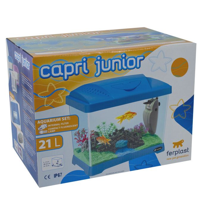 Ferplast kinder fisch aquarium 21l capri junior blau klein for Aquarium im kinderzimmer