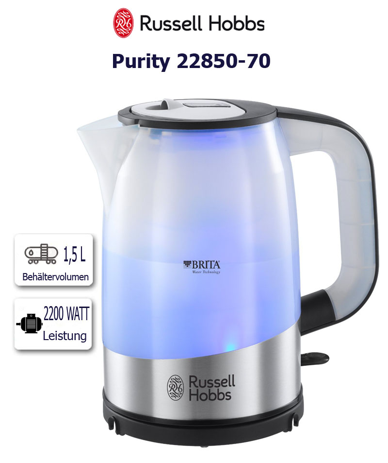russell hobbs 18554 70 purity wasser kocher brita filter kartusche 2200 watt ebay. Black Bedroom Furniture Sets. Home Design Ideas