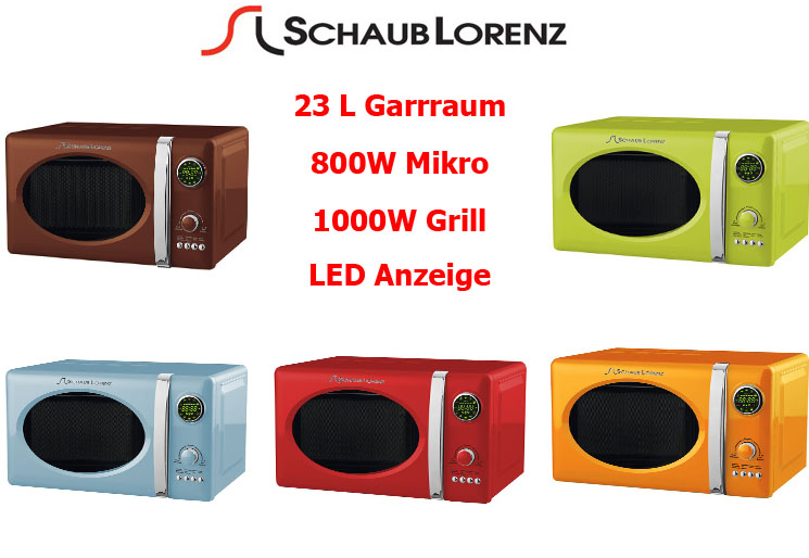 schaub lorenz 800 watt mikrowelle grill display 23 liter mikro retro timer ebay. Black Bedroom Furniture Sets. Home Design Ideas
